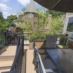 two story deck with black vinyl railing