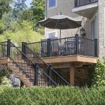 two story clubhouse deck with black vinyl railing