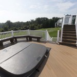 two story clubhouse deck with vinyl railing
