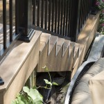 clubhouse deck staircase with black aluminum railing