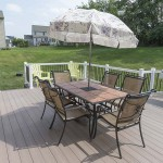 outdoor patio table on deck