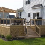 wooden deck and deck staircase