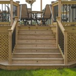 wooden deck stairs with lights