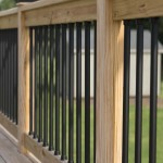 wooden railing with black balusters