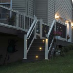 deck staircase at night