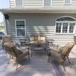 back view of azek vinyl outdoor deck that is furnished