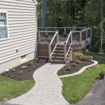 side view of outdoor deck with stairs and walkway