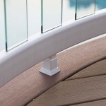 curved white railing with clear supportive post balusters