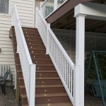 azek deck staircase with lights