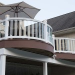 circular outdoor deck with white railing