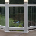 aluminum white railing with clear post balusters and lighted post caps