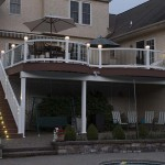 two story custom deck with lights