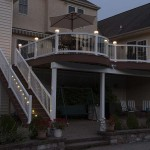 two story lit up azek deck