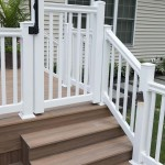 close up of white vinyl fencing with wolf decking stairs