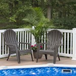 close up of brown adirondack pool chairs