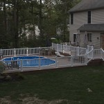 outdoor wolf pool deck at sunset