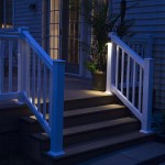 outdoor lights lighting up stairs to second story of deck