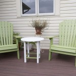 green polywood Adirondack chairs on wolf decking