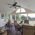 screened in porch with vinyl deck and patio