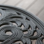 close up of black patio designed table