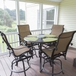 close up of deck furniture table