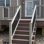 wolf deck staircase with deck lights and vinyl railing