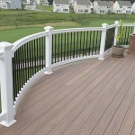 attached outdoor deck with vinyl railing